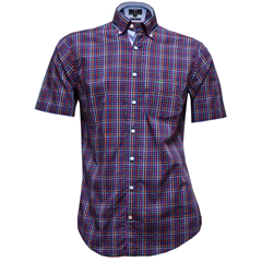 Fynch-Hatton Cotton Short Sleeve Shirt - Navy Fond Check - Size M