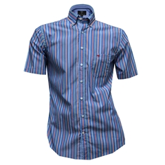 Fynch-Hatton Cotton Short Sleeve Shirt - Blue Fond Stripe - Size M Only