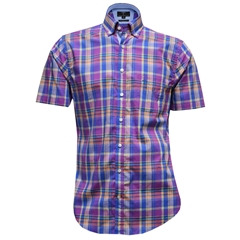 Fynch-Hatton Cotton Short Sleeve Shirt - Multi Check - Size L Only
