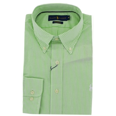 New 2017 Polo Ralph Lauren Cadet Stripe Shirt - Green White