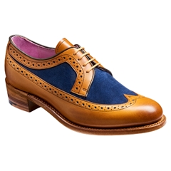 Barker Ladies Shoes Style: Abbey - Cedar Calf/Blue Suede