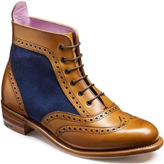 Barker Ladies Shoes Style: Grace - Cedar Calf / Blue Suede