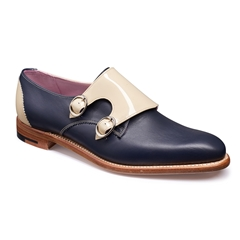 Barker Ladies Shoes Style: Taylor - Navy Calf / Beige Patent