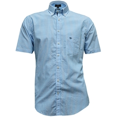New for 2017 Fynch-Hatton Cotton Short Sleeve Shirt - Aqua Stripe - Medium Only