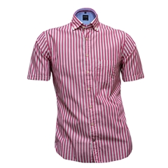 New 2017 Olymp Half Sleeved Shirt  - Cerise White Stripe