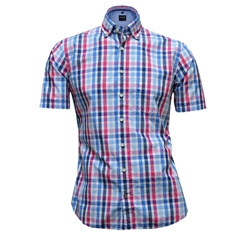 Olymp Half Sleeved Shirt  - Blue Cerise Check - 4042 72 81