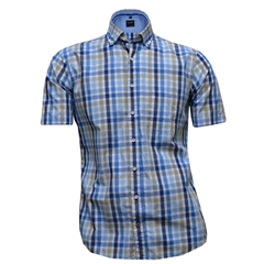 New 2017 Olymp Half Sleeved Shirt  - Blue Fawn Check