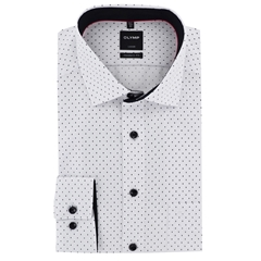 New 2017 Olymp Shirt  - White with black dot - Modern Fit