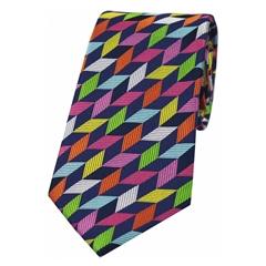 The Silk Tie Company - Multi Coloured Geometric Shapes - 100% Luxury Silk Tie