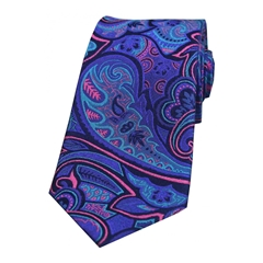 The Silk Tie Company - Purple And Fuchsia Edwardian Paisley - 100% Luxury Silk Tie