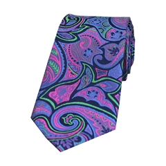 The Silk Tie Company - Purple/Green Fuchsia Edwardian Paisley - 100% Luxury Silk Tie