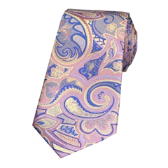 The Silk Tie Company - Multicoloured Edwardian Paisley On Pastel Pink - 100% Luxury Silk Tie