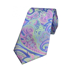 The Silk Tie Company - Multicoloured Edwardian Paisley On Jade Ground - 100% Luxury Silk Tie