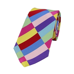 The Silk Tie Company - Multicoloured Rectangle Pattern - 100% Luxury Silk Tie