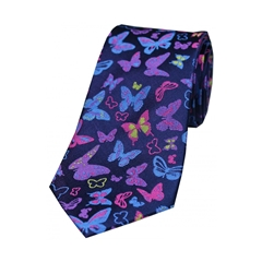 The Silk Tie Company - Multicoloured Butterflies On Navy Ground - 100% Luxury Silk Tie