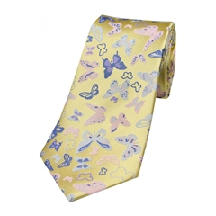 The Silk Tie Company - Multicoloured Butterflies On Pastel Yellow Ground - 100% Luxury Silk Tie