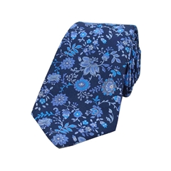 The Silk Tie Company - Blue Aqua Floral Design - 100% Luxury Silk Tie