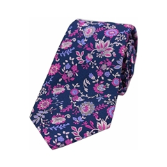 The Silk Tie Company - Blue/Purple Fuchsia Floral Design - 100% Luxury Silk Tie