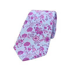 The Silk Tie Company - Light Blue/Purple Pink Floral Design - 100% Luxury Silk Tie