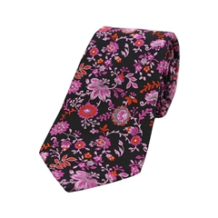 The Silk Tie Company - Black Pink/Lilac Floral Design - 100% Luxury Silk Tie