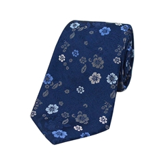 The Silk Tie Company - Navy Multi Coloured Flower Design - 100% Luxury Silk Tie