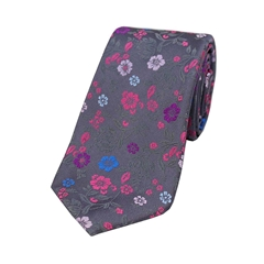 The Silk Tie Company - Grey Multi Coloured Flower Design - 100% Luxury Silk Tie