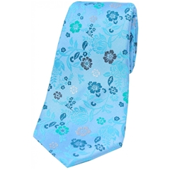 The Silk Tie Company - Light Blue Multi Coloured Flower Design - 100% Luxury Silk Tie