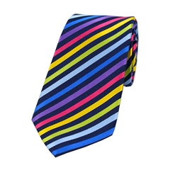 The Silk Tie Company - Multicoloured Thin Stripes - 100% Luxury Silk Tie
