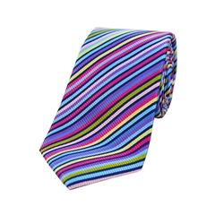 The Silk Tie Company - Bright Multicoloured Thin Stripes - 100% Luxury Silk Tie