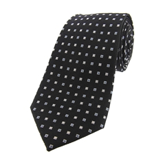 The Silk Tie Company - Black Small Squares - 100% Silk Tie