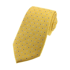 The Silk Tie Company - Gold Small Squares - 100% Silk Tie