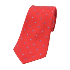 The Silk Tie Company - Red and Royal Polka Dot - 100% Silk Tie