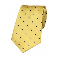 The Silk Tie Company - Gold and Blue Polka Dot - 100% Silk Tie