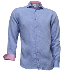 Just Arrived - Oscar Linen Shirt - Sky with pink contrast trim and buttons