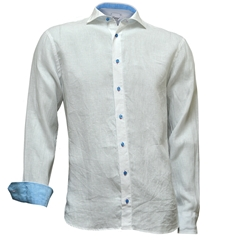 Just Arrived - Oscar Linen Shirt - White with torquoise contrast trim and buttons
