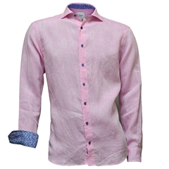 Just Arrived -  Oscar Linen Shirt - Pink with blue contrast trim and buttons