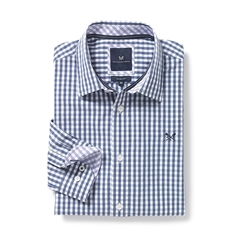 New 2017 Mens Crew Clothing Classic Fit Gingham Shirt - Wash Denim - Size XXL Only