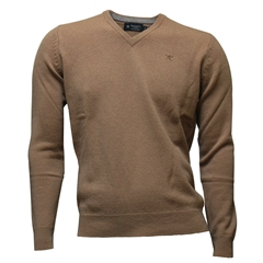 New For Autumn Hackett Lambswool V Neck Sweater - Camel