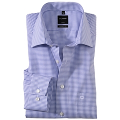 Olymp Comfort Fit Neat Check Shirt - Blue - 0274 64 15