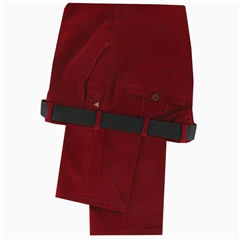 Meyer Trousers Luxury Cotton & Cashmere - Crimson