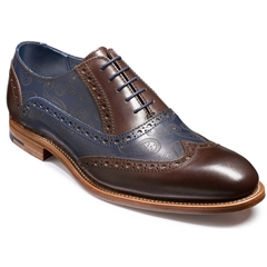 Barker Shoes Style: Grant - Walnut Calf / Navy Paisley Laser