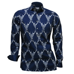 Autumn 2017 Giordano Shirt - Stags head - Navy - Modern Fit