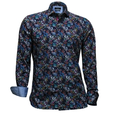 Autumn 2017 Giordano Shirt - Multi Flowers On Blue - Modern Fit - Size 2XL Only