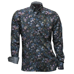 Autumn 2017 Giordano Shirt - Flowers & Spots On Grey - Modern Fit