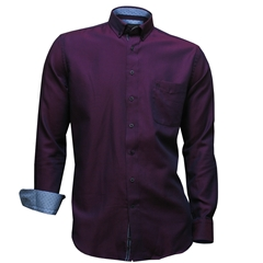 Autumn 2017 Giordano Shirt - Navy Maroon Neat- Regular Fit