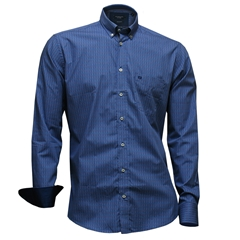 Autumn 2017 Giordano Shirt -Mini Spots On Blue - Regular Fit