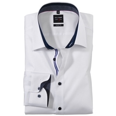 Olymp Level Five Body Fit Shirt - white -blue contrast - 0560 64 00