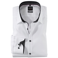 Olymp Level Five Body Fit Shirt - white -black contrast - 0560 64 68