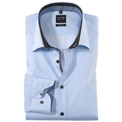 Olymp Level Five Body Fit Shirt - Fine Stripe - Contrast print - 0561 64 11