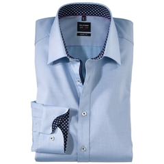 Olymp Level Five Body Fit Shirt - Blue- contrast print - 0563 64 11
